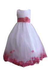 Flower Girl Dress Rose Petal White, Coral Guava