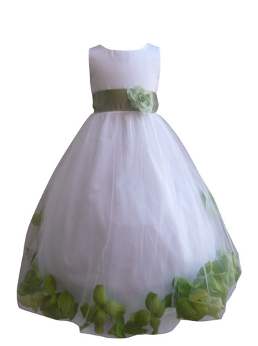 Flower Girl Dress Rose Petal White, Green Sage