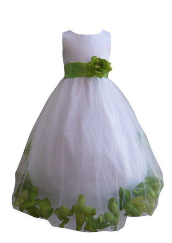 Flower Girl Dress Rose Petal White, Green Apple
