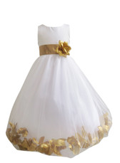 Flower Girl Dress Rose Petal White, Gold