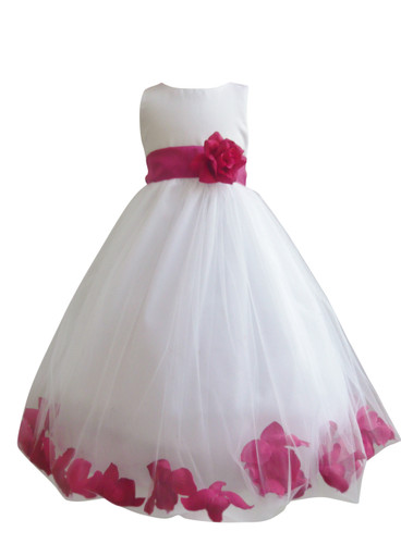 Flower Girl Dress Rose Petal White, Fuchsia