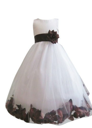 Flower Girl Dress Rose Petal White, Brown