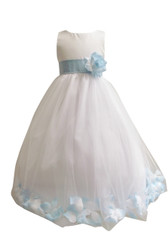 Flower Girl Dress Rose Petal White, Blue Sky