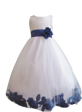 Flower Girl Dress Rose Petal White, Blue Royal