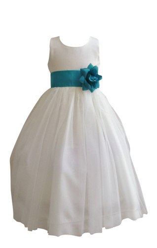 Flower Girl Dress Simple Classy Tulle Ivory, Teal