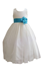 Flower Girl Dress Simple Classy Tulle Ivory, Turquoise