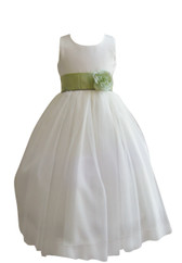 Flower Girl Dress Simple Classy Tulle Ivory, Green Sage