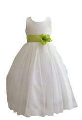 Flower Girl Dress Simple Classy Tulle Ivory, Green Lime