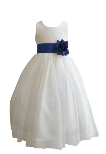 Flower Girl Dress Simple Classy Tulle Ivory, Blue Royal