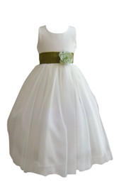 Flower Girl Dress Simple Classy Tulle Ivory, Green Olive
