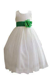 Flower Girl Dress Simple Classy Tulle Ivory, Green Kelly