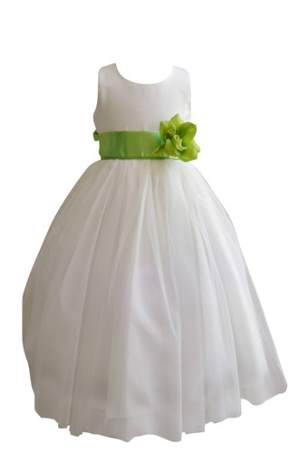 Flower Girl Dress Simple Classy Tulle Ivory, Green Apple