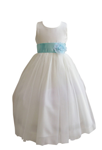 Flower Girl Dress Simple Classy Tulle Ivory, Blue Aqua