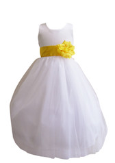 Flower Girl Dress Simple Classy Tulle White, Yellow
