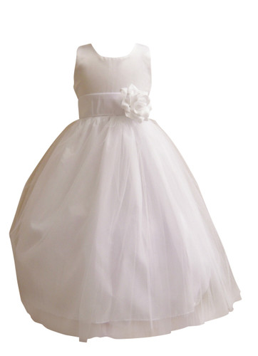 Flower Girl Dress Simple Classy Tulle White, White
