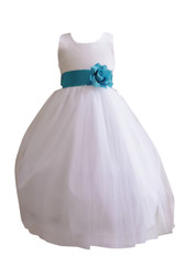 Flower Girl Dress Simple Classy Tulle White, Turquoise