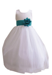 Flower Girl Dress Simple Classy Tulle White, Teal