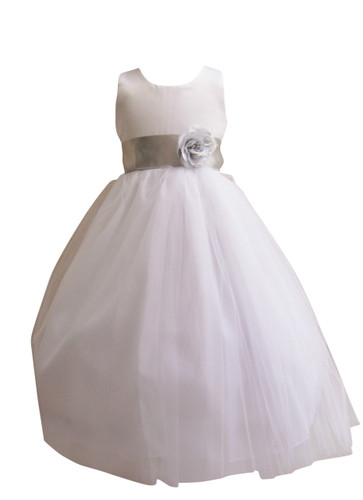 Flower Girl Dress Simple Classy Tulle White, Silver