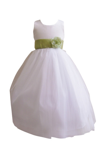 Flower Girl Dress Simple Classy Tulle White, Green Sage