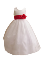 Flower Girl Dress Simple Classy Tulle White, Red