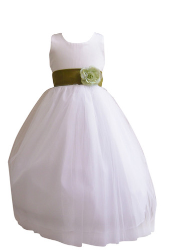 Flower Girl Dress Simple Classy Tulle White, Green Olive