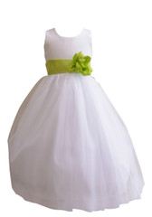 Flower Girl Dress Simple Classy Tulle White, Green Lime