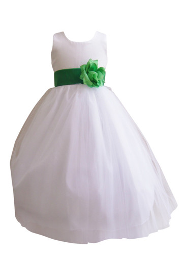 Flower Girl Dress Simple Classy Tulle White, Green Kelly
