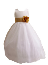 Flower Girl Dress Simple Classy Tulle White, Gold