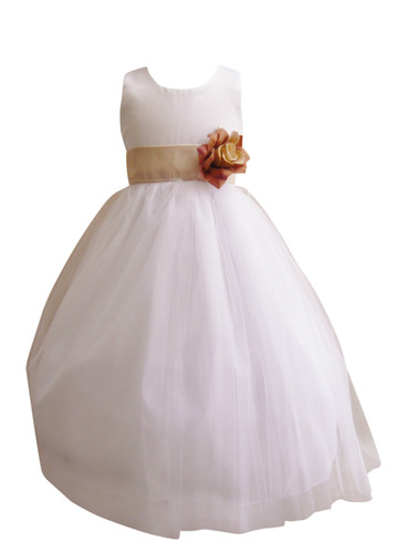 Flower Girl Dress Simple Classy Tulle White, Champagne