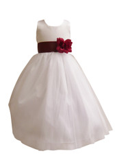 Flower Girl Dress Simple Classy Tulle White, Burgundy