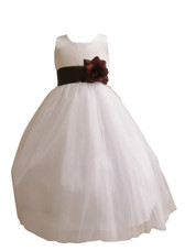 Flower Girl Dress Simple Classy Tulle White, Brown