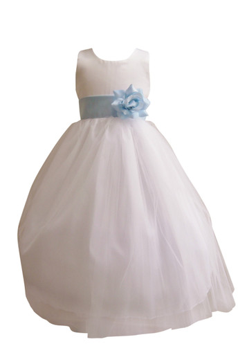 Flower Girl Dress Simple Classy Tulle White, Blue Sky