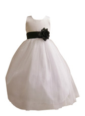 Flower Girl Dress Simple Classy Tulle White, Black