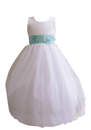 Flower Girl Dress Simple Classy Tulle White, Blue Aqua
