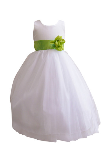 Flower Girl Dress Simple Classy Tulle White, Green Apple