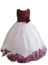 Flower Girl Dress Rose Petal Solid Burgundy