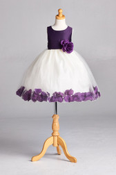 Flower Girl Dress Rose Petal Solid Purple