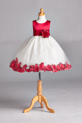 Flower Girl Dress Rose Petal Solid Red