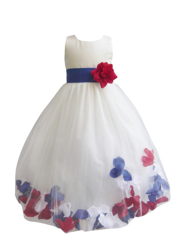 Rose Petal Dress Custom Colors Blue Royal, Red, White