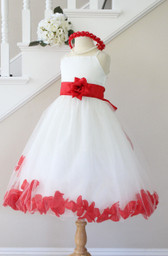 Red Rose Petal with Ivory Spaghetti Dress (Custom Colors)