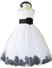 Black Rose Petal with Ivory Spaghetti Dress (Custom Colors)