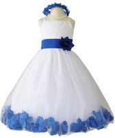 Blue Rose Petal with Ivory Spaghetti Dress (Custom Colors)