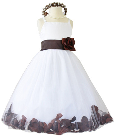 Brown Rose Petal with Ivory Spaghetti Dress (Custom Colors)