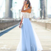 Sky Blue Women Formal Wedding Bridesmaid Evening Party Ball Prom Maxi Floral Lace Dress