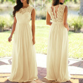 Beige #3 Women Formal Wedding Bridesmaid Evening Party Ball Prom Maxi Floral Lace Dress