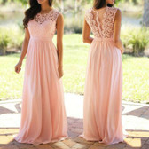 Pink #3 Women Formal Wedding Bridesmaid Evening Party Ball Prom Maxi Floral Lace Dress