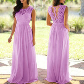 Purple #3 Women Formal Wedding Bridesmaid Evening Party Ball Prom Maxi Floral Lace Dress