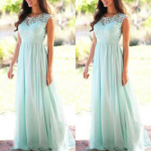 Green #3 Women Formal Wedding Bridesmaid Evening Party Ball Prom Maxi Floral Lace Dress