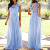 Light Blue #3 Women Formal Wedding Bridesmaid Evening Party Ball Prom Maxi Floral Lace Dress