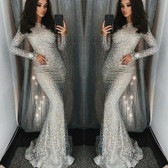 Silver #2 Women Formal Gown Wedding Bridesmaid Evening Party Bodycon Prom Cocktail Dress